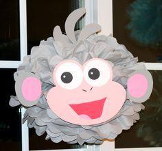 Boots the monkey from Dora the Explorer pom pom kit, party decoration