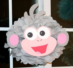 Boots the monkey from Dora the Explorer pom pom kit, party decoration