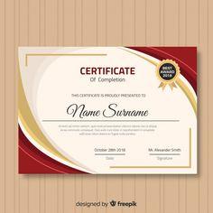 Modern certificate template with flat design Free Vector Certificate Layout, Certificate Maker, Certificate Background, Certificate Of Achievement Template, Certificate Design Template, Printable Certificates, Award Certificates, Certificate Border, Flat Design