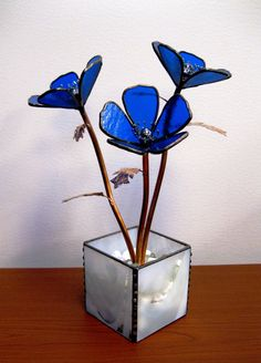Anemone in cobalt blue stained glass by GlassKissinCreations, $130.00