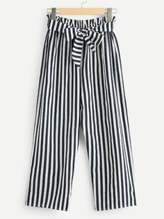 Self Tie Waist Striped Pants -SheIn(Sheinside) Girls Fashion Clothes, Fashion Pants, Fashion Dresses, Clothes For Women, Peg Trousers, Wide Trousers, Stylish Dress Designs, Stylish Dresses, Plazzo Pants