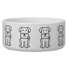 Airedale Terrier Dog Cartoon Pet Water Bowl