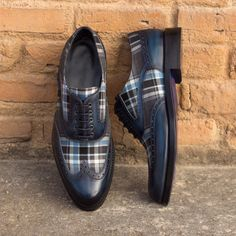 The Woman's Full Brogue in Italian Raw Crust Leather a Denim Hand Patina and Plaid Sartorial - Robert August Apparel Custom Men's Shoes Best Shoes For Men, Shoes Men, Women's Shoes, Custom Boots, Custom Design Shoes, Shoe Pattern, Brogues, Calf Leather, Designer Shoes
