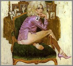Robert McGinnis is one of my all time favorite illustrators! He usually uses gouache on board (like a pro) and his subjects mostly involve women (most of the time missing some clothes). I envy the fact that he can not only paint the female figure, but that he can paint feet! If you grew up watching the James Bond movies during the 60's and 70's you'll recognize that he illustrated the James Bond posters.