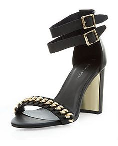 Black (Black) Black Chain Panel Double Ankle Strap Block Heels    323794401   New Look