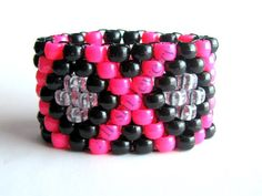 kandi+cuff+bracelets+patterns | Kandi Cuff Hot Pink Black X Pattern Rave Plur by Allysin on Etsy