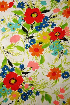 60s summer floral vintage fabric