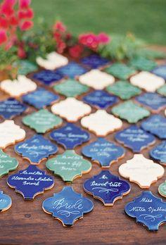 Mosaic Tiles Wedding Seating Chart and Escort Card Display   Brides.com
