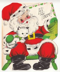 Vintage Greeting Card Christmas Santa Claus Die-Cut Kitten Cat Glitter 1950s
