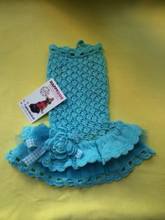 Turquoise hand knitted ruffle dress for dogs Teal by AnnaHappydog