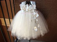 Ivory Lace Tutu Dress / Flower Girl Dress / Christening Gown / Baptism Gown by KatieDsCreations on Etsy Ivory Flower Girl Dresses, Girls Tutu Dresses, Flower Girl Tutu, Lace Flower Girls, Tutus For Girls, Lace Flowers, Little Girl Dresses, Baby Flower, Pageant Dresses