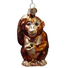 "Chimpanzee Glass Christmas Ornament 12112 Merck Family's Old World Christmas This Chimpanzee ornament is approximately 3 3/4"" in ht and 1 3/4"" in width.  #trendytree #monkey"