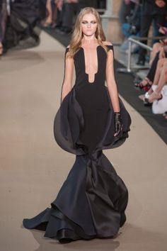 Elegant black evening dress with delicately wrapped layers  sculptural silhouette // Stephane Rolland Haute Couture