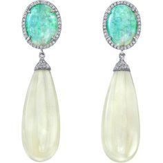 Irene Neuwirth: Crystal Opal & Fine Moonstone Drop Earrings