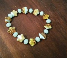 """Blue - """"You're a star"""" - glass stretch bracelet by BritkneesBootique on Etsy"""