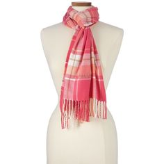 Lands' End Women's Plaid Scarf - CashTouch ($29) ❤ liked on Polyvore featuring accessories, scarves, pink, tartan plaid shawl, tartan shawl, lands' end, pink scarves and pink shawl