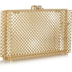 Charlotte Olympia Perforated Pandora gold-tone clutch ($2,270) ❤ liked on Polyvore featuring bags, handbags, clutches, charlotte olympia, pouch purse, brown handbags, charlotte olympia handbags and perforated handbag