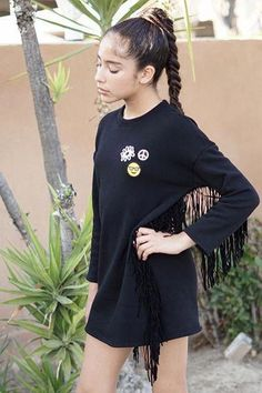 Super soft fleece sweatshirt dress with leather sleeves and velvet fringe  tassels. So fun and perfect for any personality! 2bd7829c275a