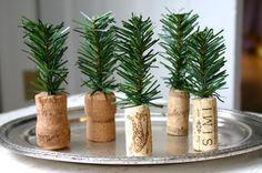 Cork + Greenery = Tiny Trees