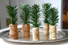Clippings from artificial garland are stuck into wine and champagne corks to make these tiny evergreen trees. I don't know what I'd use these for but they are sooo cute:)