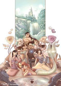 Tony Stark with Disney Princesses