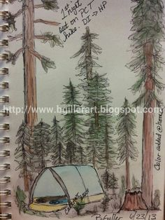 http://www.bgillerart.blogspot.com  camping journal page. Pen and ink covered by watercolor later.  @CreateMixedMedia