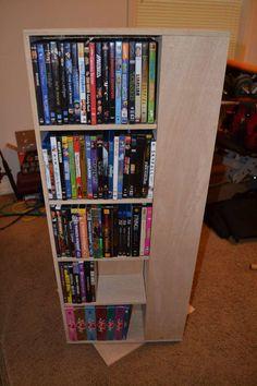 My First Project: Spinning DVD Rack | Ana White Media Storage Tower, Cd Storage Units, Dvd Storage, Storage Ideas, Diy Dvd Shelves, Dvd Rack, Cd Diy, Furniture, Lace