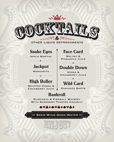 Casino Cocktail Menu PDF by FreshBakedDesigns on Etsy Las Vegas Party, Casino Night Party, Casino Theme Parties, Party Themes, Party Ideas, Casino Party Decorations, Vegas Casino, Themed Parties, Casino Party Foods