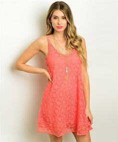 Coral Lace Dress – Blooming Dresses