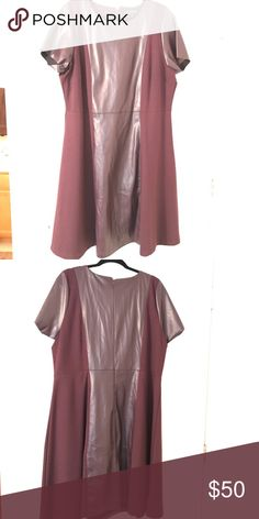Eloquii, Faux leather and ponte dress, Size 22 Wine color dress with faux leather sleeves and front/back panel.  Perfect for upcoming holiday season. Worn once. Pet free/smoke free home. Eloquii Dresses Midi