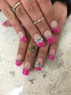 Pink and white anc french tip 3d flower triple flower pink nail pink nails 3d flowers nail design nail art anc black white glitter follow my girl on prinsesfo Images