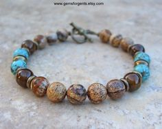 Blue Magnesite, Coffee Brown Dolomite and Picture Jasper, Mens Beaded Bracelet, Mens Jewelry – B61 by GemsForGents on Etsy https://www.etsy.com/listing/481906243/blue-magnesite-coffee-brown-dolomite-and