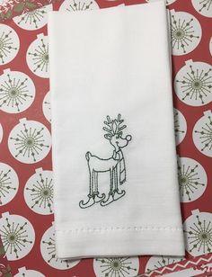 Ski Reindeer Christmas Cloth Napkins - Set of 4 napkins