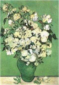 Still Life: Pink Roses in a Vase (1890), Van Gogh