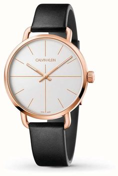 Calvin Klein | Even Extension Watch | Black Leather Strap | RoseGold Case K7B216C6 - First Class Watches™ Calvin Klein Watch, Calvin Klein 2, Mens Dress Watches, Watches For Men, Leather Case, Black Leather, Rose Gold, Leather Pencil Case, Men's Watches