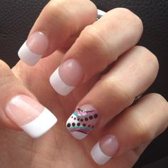French manicure. Design on the ring finger. (:
