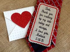 Custom Embroidered Linen Wedding Tie Patch. by TheWeddingPatch