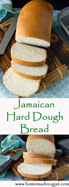 """An easy recipe for Jamaican hard dough (""""hard-do"""") bread that is almost a sweeter version of a pullman bread. Great for sandwiches # Easy Recipes indian Easy Jamaican Hard Dough Bread Jamaican Cuisine, Jamaican Dishes, Jamaican Recipes, Jamaican Bulla Recipe, Jamaican Desserts, Carribean Food, Caribbean Recipes, Pullman Bread, Puerto Rico"""
