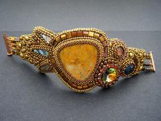 Golden Age Bead Embroidery Bracelet by crimsonfrog on Etsy
