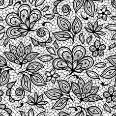 Vector Texture Old lace seamless pattern, ornamental flowers. Tattoo Dentelle, Lace Tattoo, Pattern Coloring Pages, Flower Coloring Pages, Folk Embroidery, Embroidery Patterns, Lace Drawing, Flower Pattern Drawing, Image Digital
