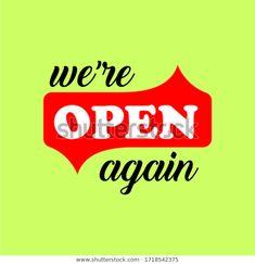 Wir sind wieder offen Text Vektorvintage Stock-Vektorgrafik (Lizenzfrei) 1718542375 Flat Icons, Thrift, Shop, Image, Ideas, Decor, Vectors, Decoration, Decorating