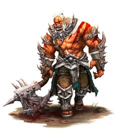 Male Half-Fiend Orc Barbarian or Bloodrager - Pathfinder PFRPG DND D&D 3.5 5th ed d20 fantasy