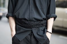 """The over-sized shirt with braided belt. I feel this style is like a Japanese traditional style a little. Something new idea!  オーバーサイズのシャツに編み込みのベルト。 なんだか少し、日本的(今の日本のことじゃなくてもっと""""和""""な意味での)な雰囲気を感じるようなバランス。 新鮮。   name : John Lisle occupation : Henrik Vibskov Boutique  shirt : Thrift store bottoms : Henrik Vibskov belt : Silent by Damir Doma shoes : Underground"""