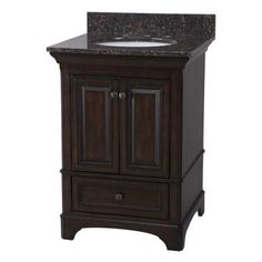 Home Decorators Collection Moorpark 25 in. Vanity in Burnished Walnut with Granite Vanity Top in Brown-MPBNVT2522 - The Home Depot