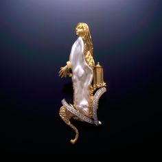 Rapunzel a Custom brooch 18k, 14k Gold, Diamonds, Biwa Pearl USA. – All Animal Jewelry & Jan David Design Jewelers