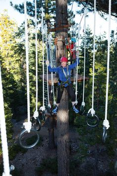 Get ready for some forest fun at Tahoe Treetop Adventure Park. (Photo by Grant Kaye) Playground Design, Backyard Playground, Landscaping Backyard On A Budget, Lake Tahoe Summer, Ninja Warrior Course, Ropes Course, Outdoor Gym, Summer Travel, Obstacle Course