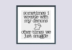 Funny cross stitch pattern snuggle demon instant download
