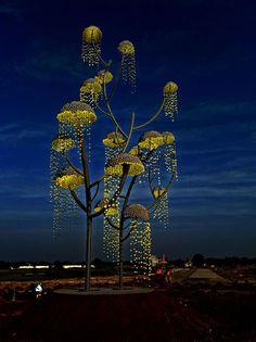 "Indian designer and artist Vibhor Sogani has designed a modern stainless steel sculpture named ""Kalpavriksha – the wish fulfilling tree"". Sculpture Stand, Wire Tree Sculpture, Steel Sculpture, Sculpture Art, Sound Sculpture, Outdoor Sculpture, Sculptures, Outdoor Art, Outdoor Lighting"