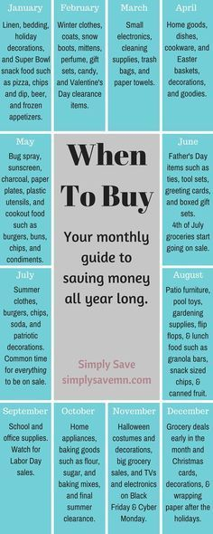 When To Buy: A Monthly Guide - Finance tips, saving money, budgeting planner Saving Ideas, Money Saving Tips, Money Savers, Money Tips, Money Budget, Money Hacks, Info Board, Ways To Save Money, How To Make Money