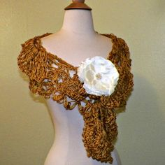 Gold Triangle Shawl Scarf Bridal Crochet by wildirishrosecrochet, $56.00